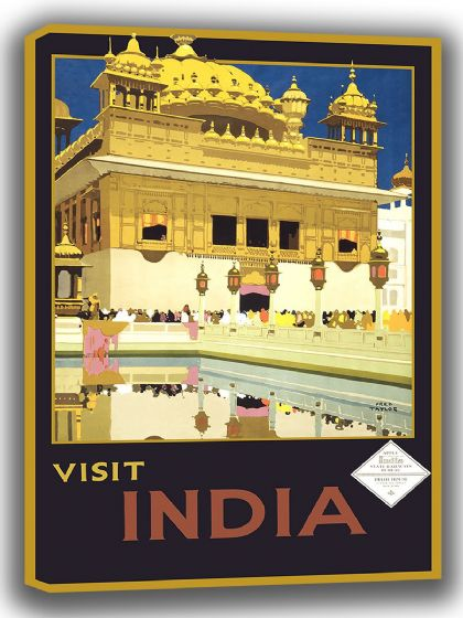 Visit India. Vintage Travel/Tourism Canvas. Sizes: A4/A3/A2/A1 (002718)